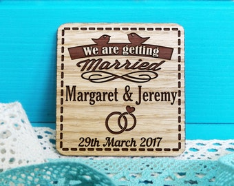 Save The Date Magnet-Rustic Wedding Announcement-Old School Save-The-Date-Wooden Save The Date-Wedding Announcement-Birds Save-the-Dates