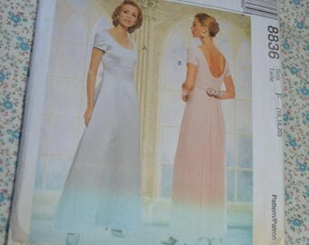 McCalls 8836 Evening Elegance Misses Lined Dress with Detachable Train Sewing Pattern - UNCUT - Size 16 18 20