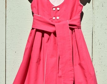 Dress short sleeves / stitched hand and machine / white and pink / 8 years