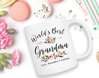World's Best Grandma, Customized Coffee Mug, World's No1 Grandma, Worlds Best Grandma, Birth Announcement, Grandma Est 2017, Grandma, Mug