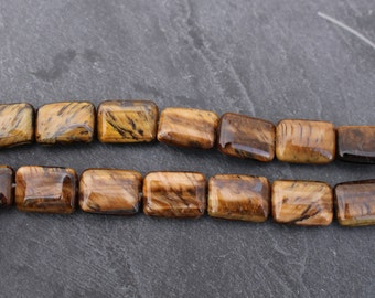 Tiger's Eye Beads, Rectangle, 18mm x 12mm