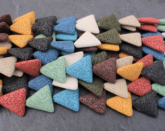 Lava Beads, Mixed Colors, Triangle Shaped - Full Strand or Half Strand