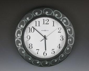 Ceramic Clock,Hanging Clock,Handmade,Wall Clock,Howard Miller Clock,Pottery Clock,Black Clock,Jan's Pottery,Stoneware Clock,Clay Clock