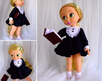 "Black dress with a miniature notebook for Disney animator doll 16"", Disney Animator doll clothes"