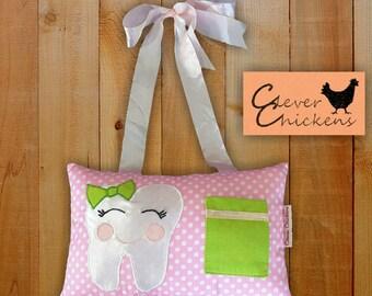 Tooth Fairy Pillow Girl Pink Polka Dot Green Applique - Lost Tooth - Tooth Pillow Girl - Tooth Cushion - Hanging Pillow
