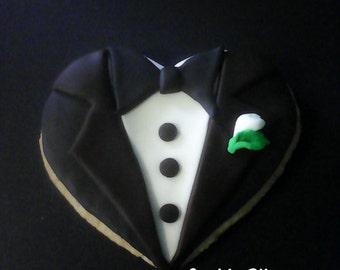 12 Tuxedo Decorated Sugar Cookies Baked Goods Bachelor Party Cookies Handmade Cookies Wedding Cookies Wedding Favors Engagement Groom Cookie
