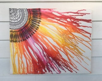 Crayon Sun Design on Canvas