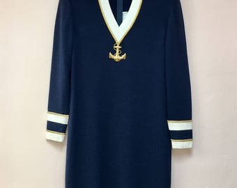 St. John Collection Marie Gray vintage 1980's santana knit nautical navy white gold braid DRESS with gold anchor