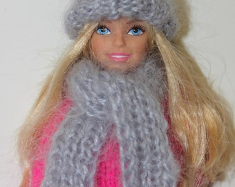 Knitted Hat and scarf for Barbie doll  handmade clothes mohair