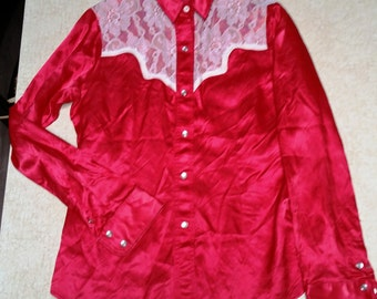 Vintage Red Soft Satin and Lace Cutter Bill's Women's Western Shirt - Small