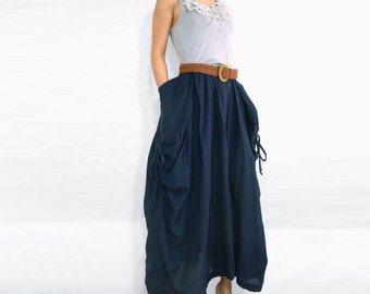 Lagenlook Maxi Skirt Big Pockets Long Skirt in Deep Dark Navy Blue Cotton Maxi Skirt - SK001