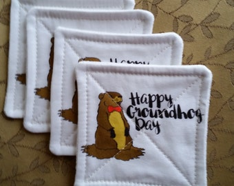 Happy Groundhog Day Fabric Coasters - S/4