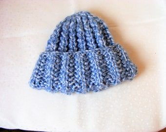 Handknit, cuffed hat, wooly hat, Winter hat. chunky knit, blue and grey, Beanie hat, slouch hat, birthday gift