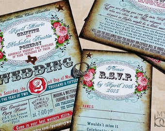 Boots and Bling Western Wedding Invitation Set. Western Couture Wedding. Western carnival wedding invitations. Texas wedding invitations.