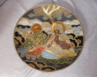 Satzuma Plate. Hand painted. Porcelain Japanese. Marked first 1900.