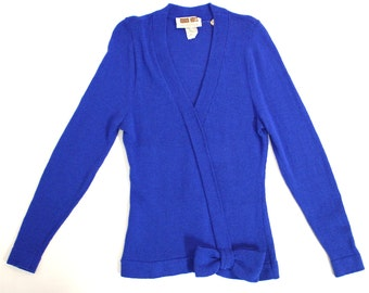 SALE*Vintage Women's Clothing • 1980's Marni Knits • Royal Blue Wool Sweater • Bow  Detailing •