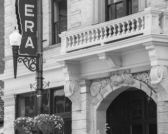 "Black and white photograph fine art photography Maysville Kentucky opera rustic wall art home decor wall decor print ""Opera House"""