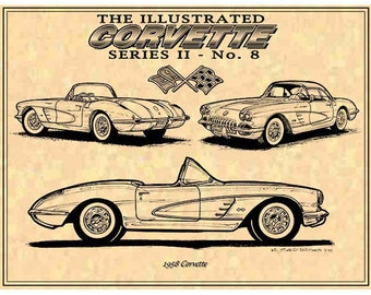 1958 Production Corvette,1958 C1 Print,C1 Corvette,Man Cave Decor,Teeters,Nostalgic Corvette,58 Corvette Print,Americas Sports Car