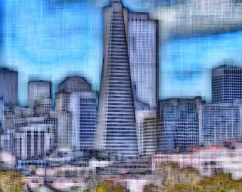 Transamerica Pyramid Building, San Francisco  - Digitally Enhanced 8x10 Photo Print