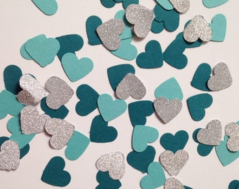 100 pcs Blue Hearts cofetti