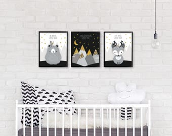Nursery printable set, Nursery print set, Monochrome nursery, Nursery printable set of 3, Forest friends set, Deer, Bear, Baby Shower Gift
