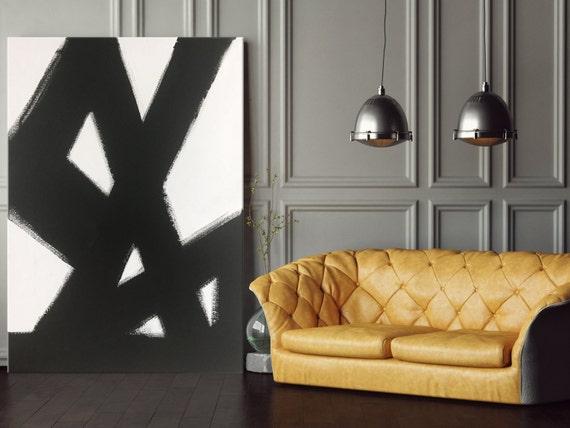 Abstract Black & White Slash No. 2 Abstract Art Painting Black White Living Room Art Dining Room Art Bedroom Painting Black White Art