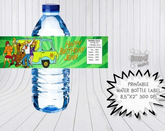 Scooby doo water bottle label, Scooby doo birthday, Scooby doo and friends, printable labels, Scooby doo birthday labels, Scooby doo