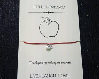 Teacher gifts, apple bracelet, red wax cord bracelet, thank you teacher gift, charm bracelet, fruit bracelet, adjustable bracelet