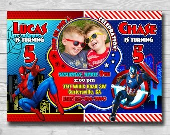 Sibling Birthday Invitation-Superhero Birthday Party-Captain America Invitation-Spiderman Invitation-Superhero invitation-Double Invitation