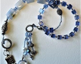 Blue Glass and Chalcedony Baha'i Prayer Beads
