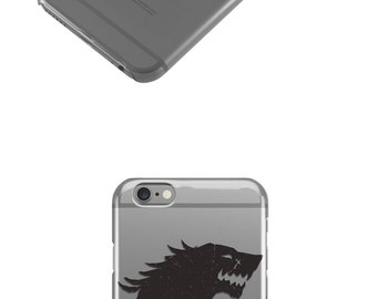 Winter is Coming Black Wolf Clear iPhone 7 Case, iPhone 6 Case , iPhone Cases, Rubber Case, Galaxy S7 Case, Galaxy S7 Edge, Cell Phone -7