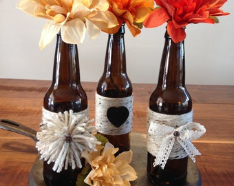 Rustic Decorated Beer Bottles, Rustic Wedding Centerpiece, Decorated Bottles, Rustic Wedding Decor