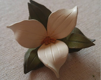 Leather Trillium Brooch