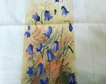 COMPLETED Bluebells cross stitch UNFRAMED
