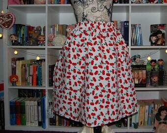 Cherry Swing Skirt Handmade 50s Midcentury Fifties Novelty Print Flared Gathered