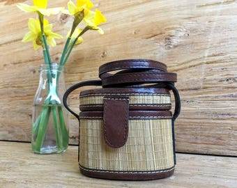 Bamboo Straw Mini Cross-Body / Straw Cross-Body Bucket Bag
