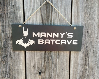 Black Personalized Batcave Sign