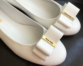 Miu MIu by Prada White Real Leather Flats Women Shoes Bow Ballerina wedding Party Shoes sz uk 6/EU 39,5