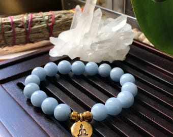 Angelite AAA Grade Yoga Mala Beaded Bracelet. Healing Natural Gemstone Bracelet. Wrist Mala. Stretch Bracelet. Meditation Bracelet.