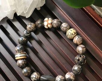 Turritella Agate / Bone Carved beads Yoga Mala Bracelet / Healing Natural Gemstone Bracelet / Woman/ Men Bracelet. Wrist Mala.