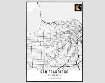San Francisco Map Art Print, Poster Map of San Francisco Decor, San Francisco City Map Art, San Francisco Gift, San Francisco Art Poster