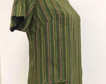 Vintage 60's Pencil Short Sleeve Shift Dress Front Pockets Olive with Black Yellow and Orange Stripe Pattern From Portugal 100% Cotton