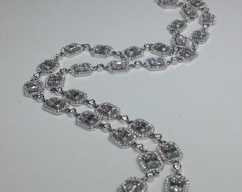 "Estate 18K White Gold 28"" Long 12.89 CTW F-G VS1 Diamond Necklace 43.7 Grams"