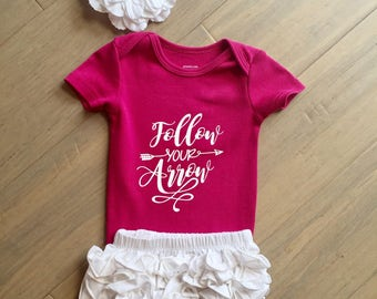 personalized baby clothes, baby girl outfit, baby girl clothes, follow your arrow bodysuit, baby girl onesie, baby shower gift, pink onesie