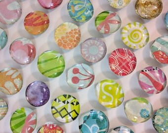 Mixed Set of 8 Glass Magnets - Handmade