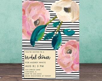 Bridal Shower Invitation, FLOWERS STRIPES Bridal Shower Invitation, Shower Invite,Bride To Be, Stationary, Floral, Stripes
