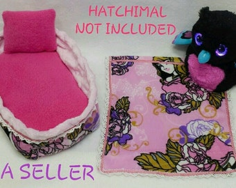 For Hatchimals Hatching Toy Egg Handmade Clothes Dress 5 Pcs Pink Princess Set, Bed, Mattress, Pillow, Blanket and FREE Gift Surprice