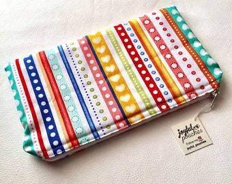 Fancy multicolored striped clutch bag red yellow green blue