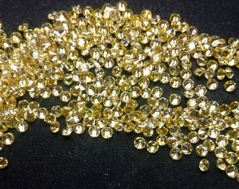 2mm Round Cut Yellow Cubic Zirconia 5A Quality. Lot of 100 Stones