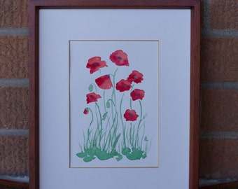 Watercolour Original Painting - Poppies